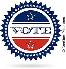 vecteur, insigne, vote, logo., graphisme, américain