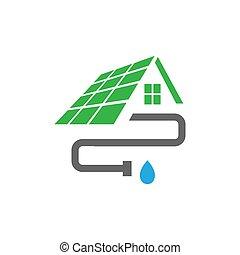 vecteur, installation, gabarit, tuyau, maison, logo, conception, maison, toit, gouttière, extérieur