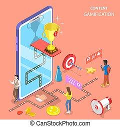 vecteur, interactif, content., gamification, plat, isométrique, concept