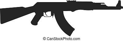 vecteur, isolé, fusil, icône, assaut, white.., illustration, ak-47., kalashnikov