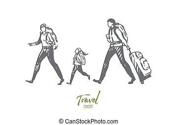 vecteur, isolé, illustration, pied, concept, sketch., voyage