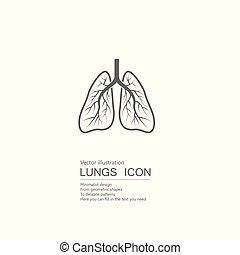 vecteur, isolé, lungs., dessiné, blanc, humain, arrière-plan.