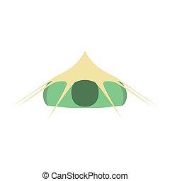 vecteur, isolé, tente, camping, icône, arrière-plan., touriste, blanc vert, illustration