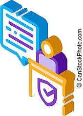 vecteur, isométrique, droit & loi, icône, document, illustration, jugement