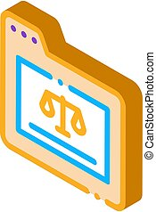 vecteur, isométrique, droit & loi, icône, dossier, illustration, tribunal, jugement