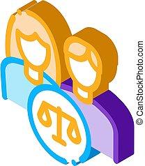 vecteur, isométrique, droit & loi, icône, famille, illustration, tribunal, jugement