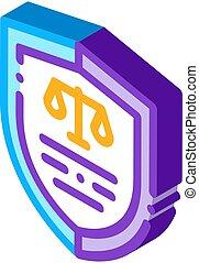 vecteur, isométrique, droit & loi, icône, illustration, tribunal, jugement