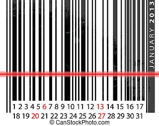 vecteur, janvier, barcode, illustration, calendrier, 2013, design.