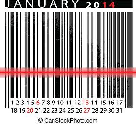 vecteur, janvier, barcode, illustration, calendrier, 2014, design.