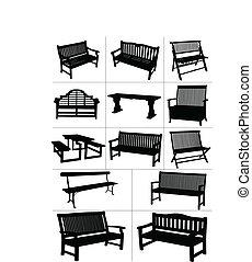 vecteur, jardin, grand, ensemble, benches.