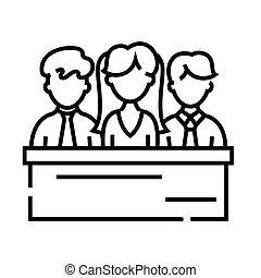 vecteur, jury, symbole., icône, ligne, illustration, linéaire, concept, contour, signe