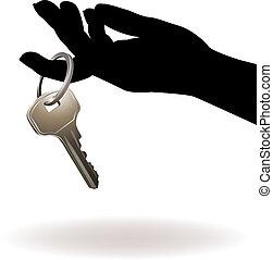 vecteur, key., tenant main