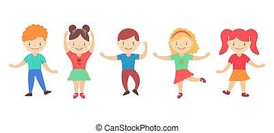 vecteur, kids., grand, rigolote, heureux, mignon, fond, clipart, blanc, actif, illustration, groupe, dessin animé, garçons, isolé, danser., filles, ensemble, enfants