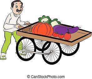 vecteur, légume, pousser, vendeur, cart.