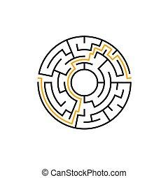 vecteur, labyrinthe, game., puzzle, labyrunth, solution., complexe, modèle, labyrinthe, cercle, prospectus circulaire