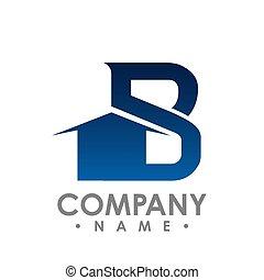 vecteur, lettrage, concept, initiale, idea., b, conception, lettre, realty, logo, design.