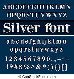 vecteur, lettres, fond, bleu, argent, chiffres, enduit, alphabet