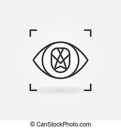 vecteur, ligne, concept, reconnaissance, figure, icône, oeil