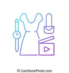 vecteur, linéaire, gradient, icône, vidéo, mode
