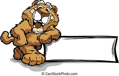 vecteur, lion, signe, penchant, montagne, puma, sourire, ou, mascotte, illustration