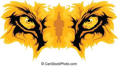 vecteur, lion, yeux, mascotte, graphique