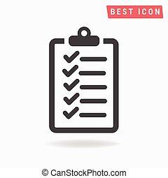 vecteur, liste, chèque, icône