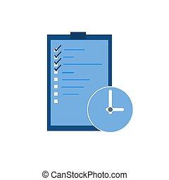 vecteur, liste, chèque, icon., illustration, plat