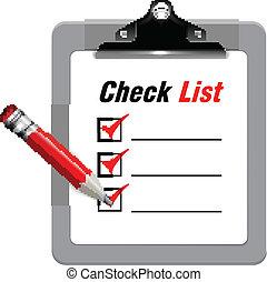 vecteur, liste, chèque, illustration