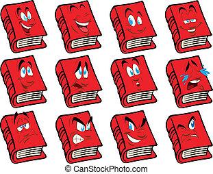 vecteur, livre, visage rouge