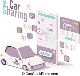 vecteur, location, concept, voiture, app, partage