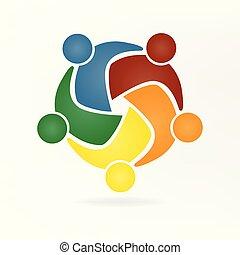 vecteur, logo, étreinte, collaboration, gens
