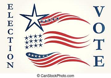 vecteur, logo, américain, ensemble, drapeaux, illustration