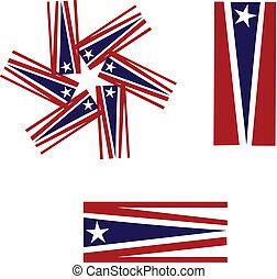 vecteur, logo, américain, ensemble, drapeaux