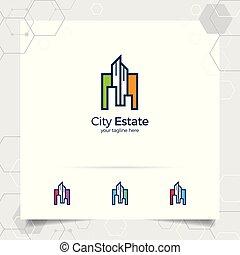 vecteur, logo, appartement, architect., entrepreneur, construction, vrai, résidence, bâtiment., icône, conception, propriété, propriété, concept