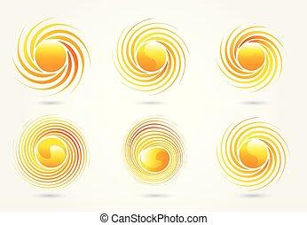 vecteur, logo, ensemble, soleil