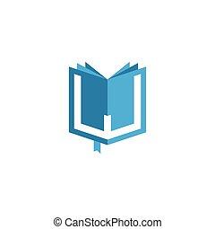 vecteur, logo, lettre, w, livre, initiale