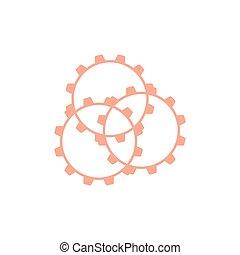 vecteur, logo, machine, lié, dents, conception