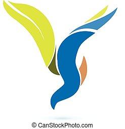 vecteur, logo, symbole, oiseau volant