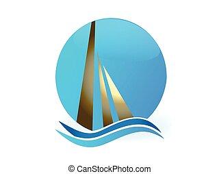 vecteur, logo, vagues, bateau, soleil