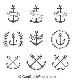 vecteur, logos, ensemble, ancre, icônes