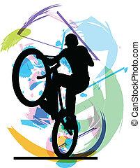vecteur, mâle, bicycle.