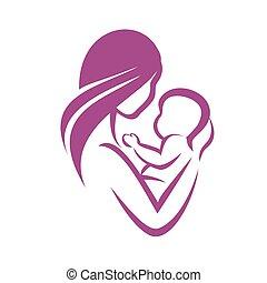 vecteur, mère, symbole, stylisé, icône, bébé