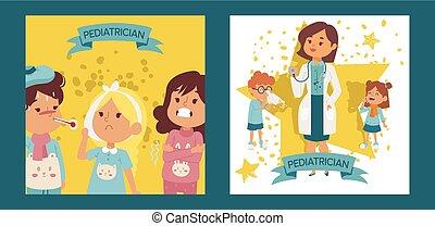 vecteur, médecin, femme, illustration., docteur, malade, equipment., otorhinolaringologist, enfants, ensemble, affiches, pédiatre, femme, tenue, cartes, malade, ou, kids., stethoscope.