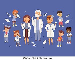 vecteur, médecin, femme, illustration., gosses, malade, pédiatre, equipment., otorhinolaringologist, toux, mask., rash., tenue, médecins, équipe, bannière, enfants, stethoscope., homme