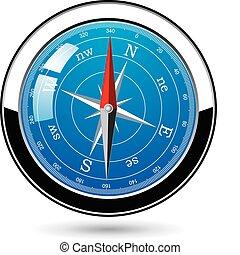 vecteur, métal, compas