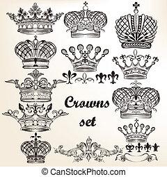 vecteur, main, couronnes, ensemble, dessiné