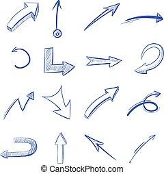 vecteur, main, dessiné, courbé, flèches