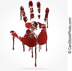 vecteur, main, sanglant, impression