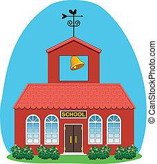 vecteur, maison pays, école