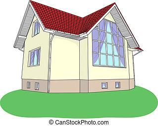 vecteur, maison, pelouse, vitrail